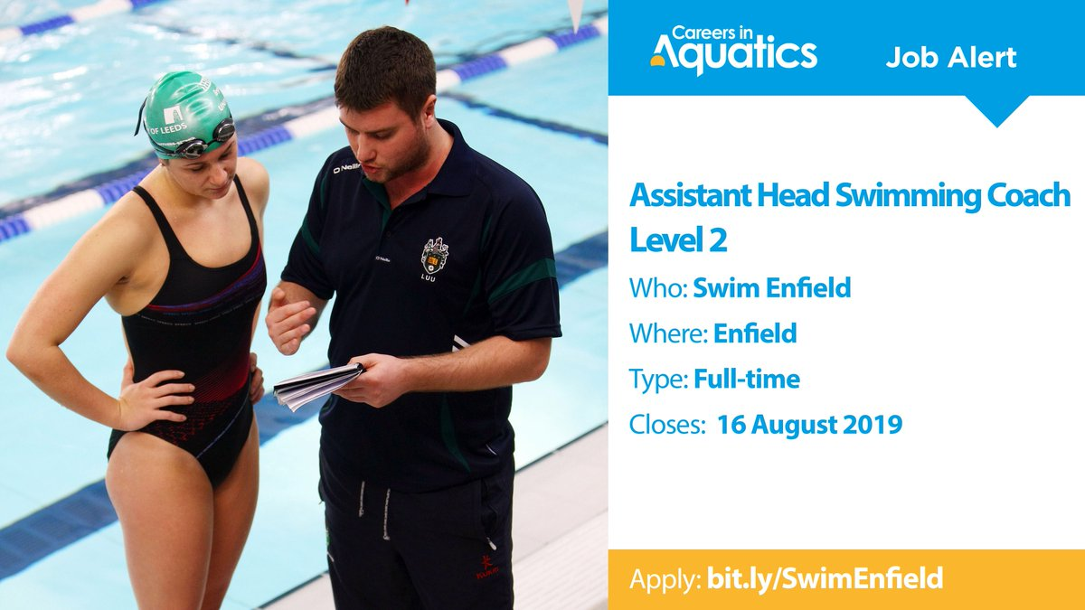 Job Alert | Level 2 qualified Assistant Head Swimming Coach needed by Swim Enfield in Enfield.Applications close on Friday so get yours in before it's too late.Closes: 16 AugustApply: http://bit.ly/SwimEnfield