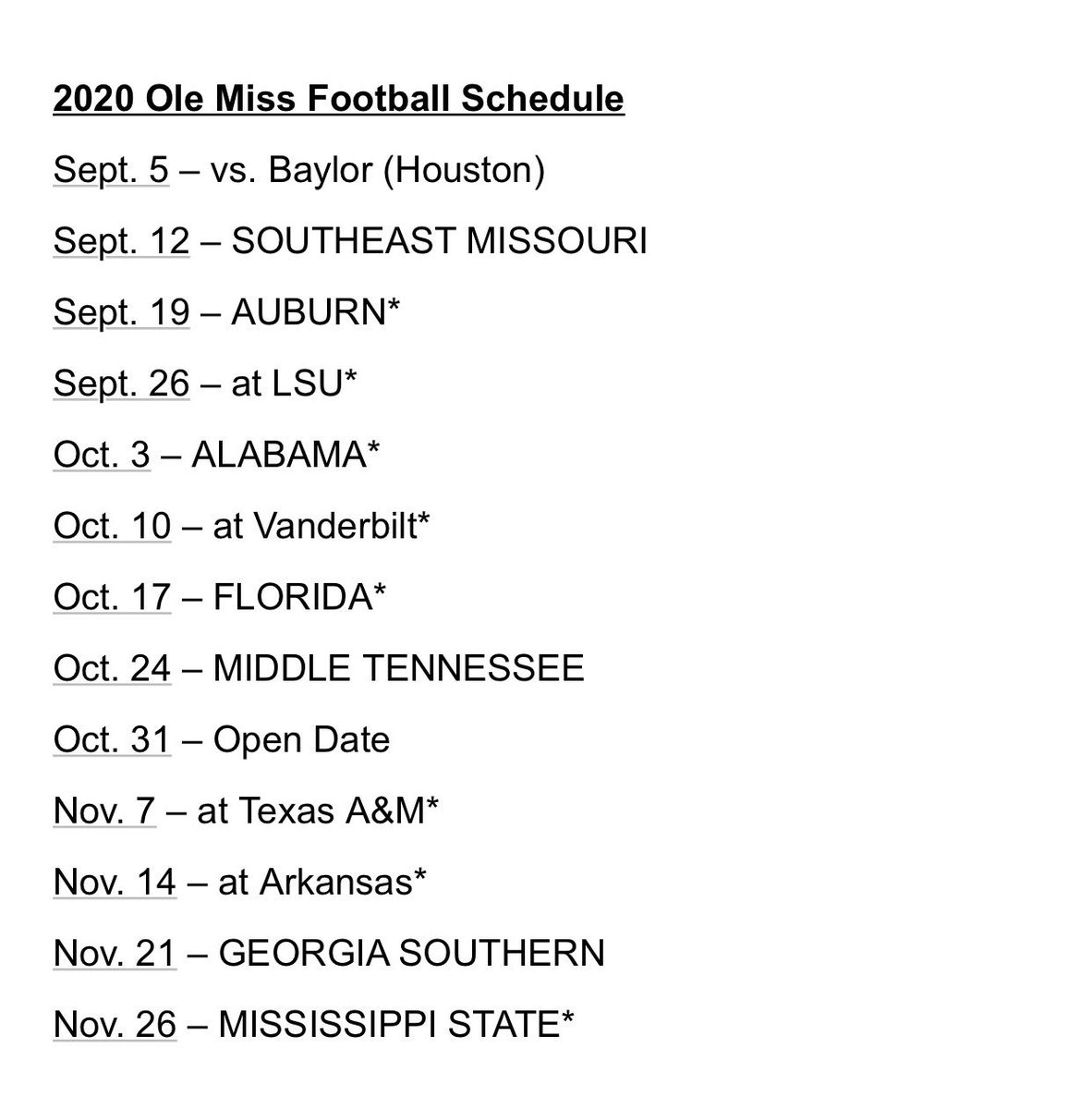 Ole Miss Football Schedule 2020.The Rebel Walk On Twitter Here S The 2020 Ole Miss