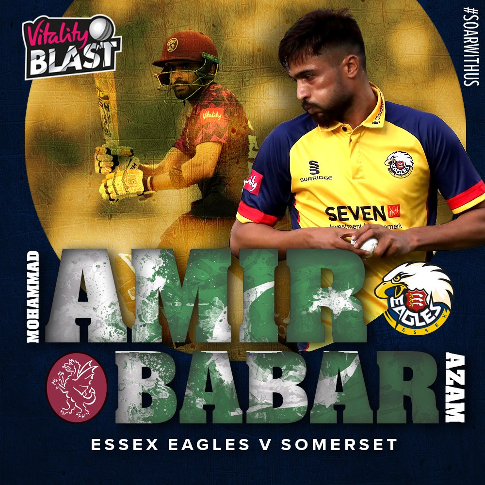 All set for @iamamirofficial 🆚 @babarazam258? Watch the action via our Live Stream, which is available now through the Essex Cricket Match Zone... ➡️ bit.ly/SubscribeECTV #SoarWithUs 🦅