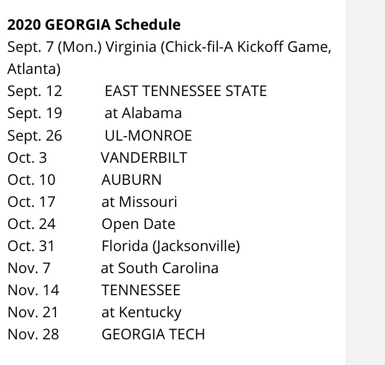 University Of Georgia 2020 Football Schedule UGA's 2020 schedule
