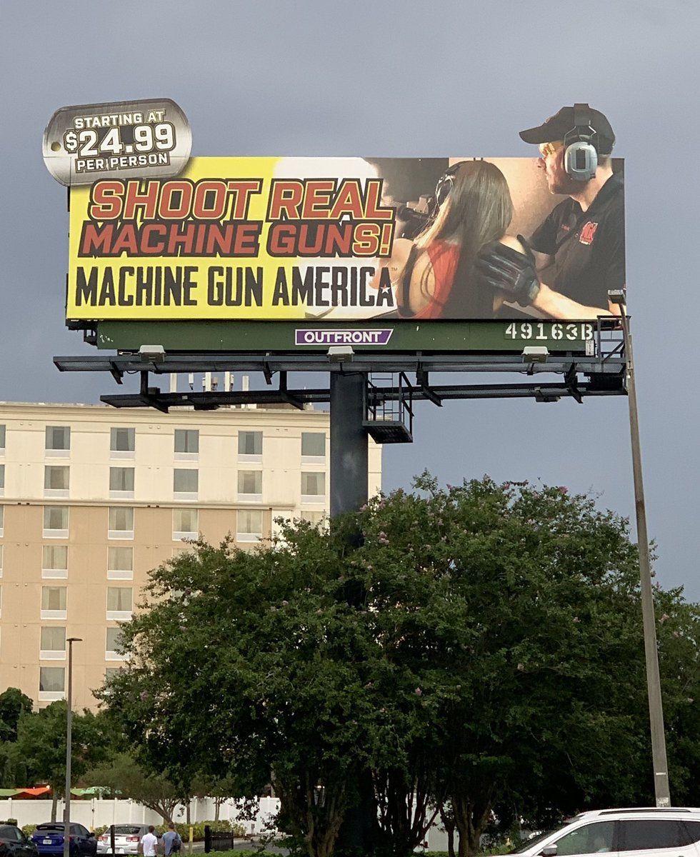 Disgusted that there are gun show billboards everywhere in Orlando , a bar that has a shooting range, and even advertisements for machine gun lessons... all within 5 blocks of @UniversalORL theme park. #wakethefuckup #whatsitgonnatake