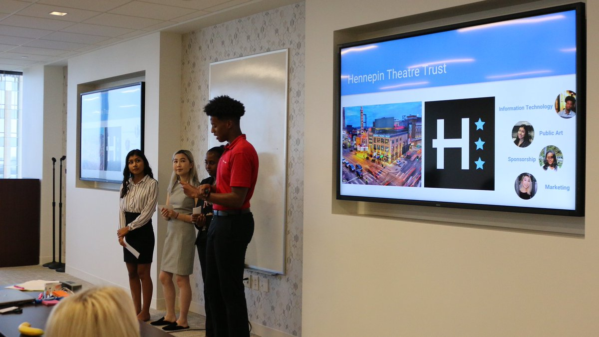 Our ✨awesome✨#BofAStudentLeaders presented their summer project to Hennepin Theatre Trust and @BankofAmerica staff today, proposing an expansion of arts access for @spotlightmn students 👏👏👏