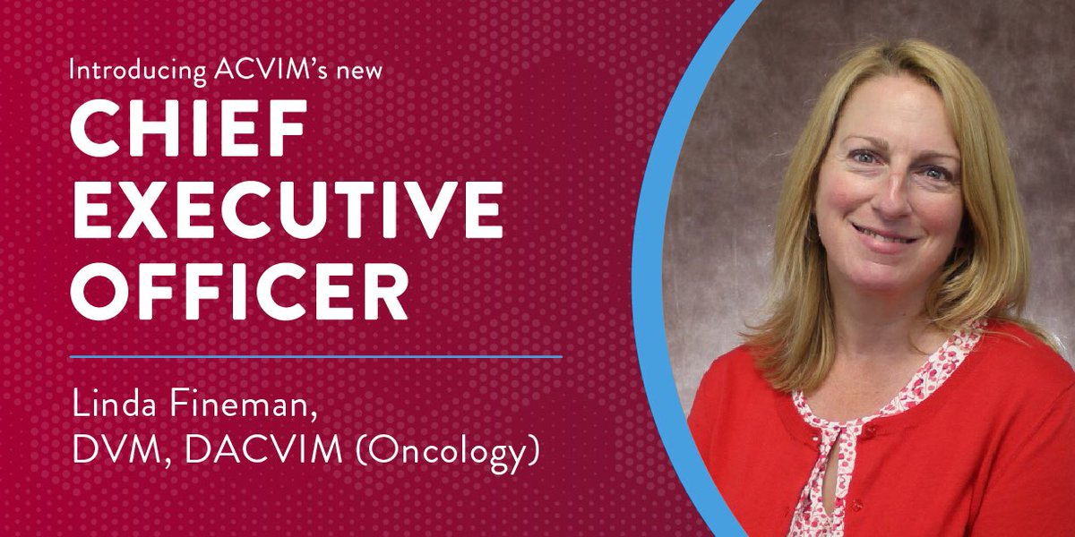 We are pleased to announce the appointment of Linda Fineman, DVM, DACVIM (Oncology) as the new CEO of the #ACVIM. Dr. Fineman brings vast experience in learning and professional development in both specialty practice and academic settings and we are excited to have her on board!