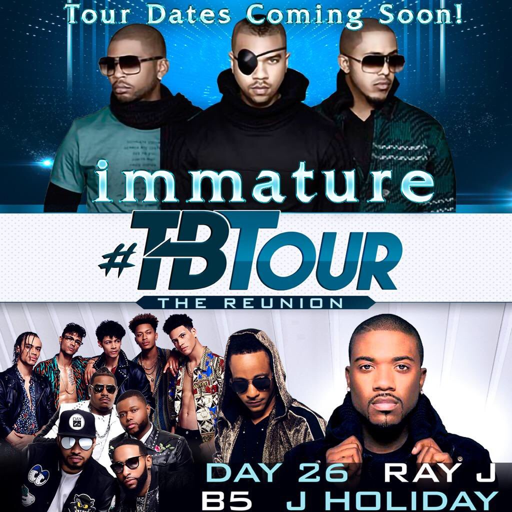JUST ANNOUNCED! Immature #TBTour Also performing: Ray J, Day 26, J Holiday and B5. Tour dates will be announced soon! #Immature #IMX #RayJ #Day26 #JHoliday #TBTour2019 https://t.co/ZvxSwa4FnK