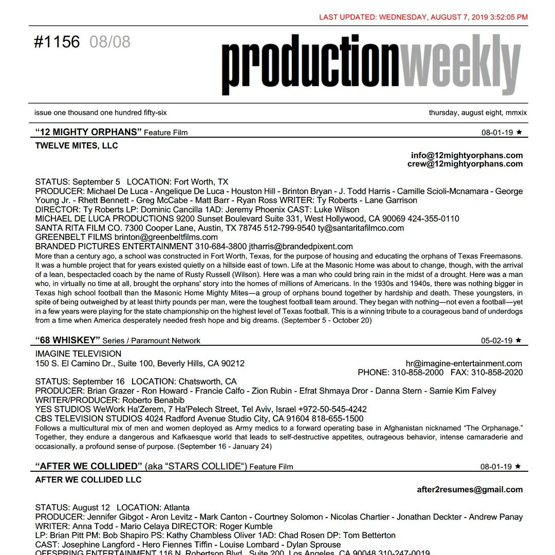 Production Weekly (@prodweek) | Twitter