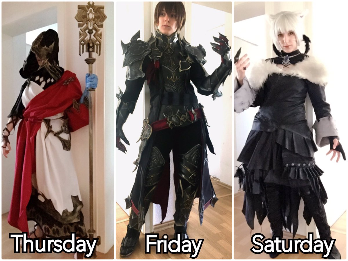 There we go! Gamescom lineup!  I'll be there from Wednesday to Saturday but these are the only days I'll be wearing a cosplay.  Wednesday will be casual! Thursday, Crystal Exarch  Friday, WoD/ Dark Knight Saturday, Y'shtola <br>http://pic.twitter.com/CkV43BRixJ
