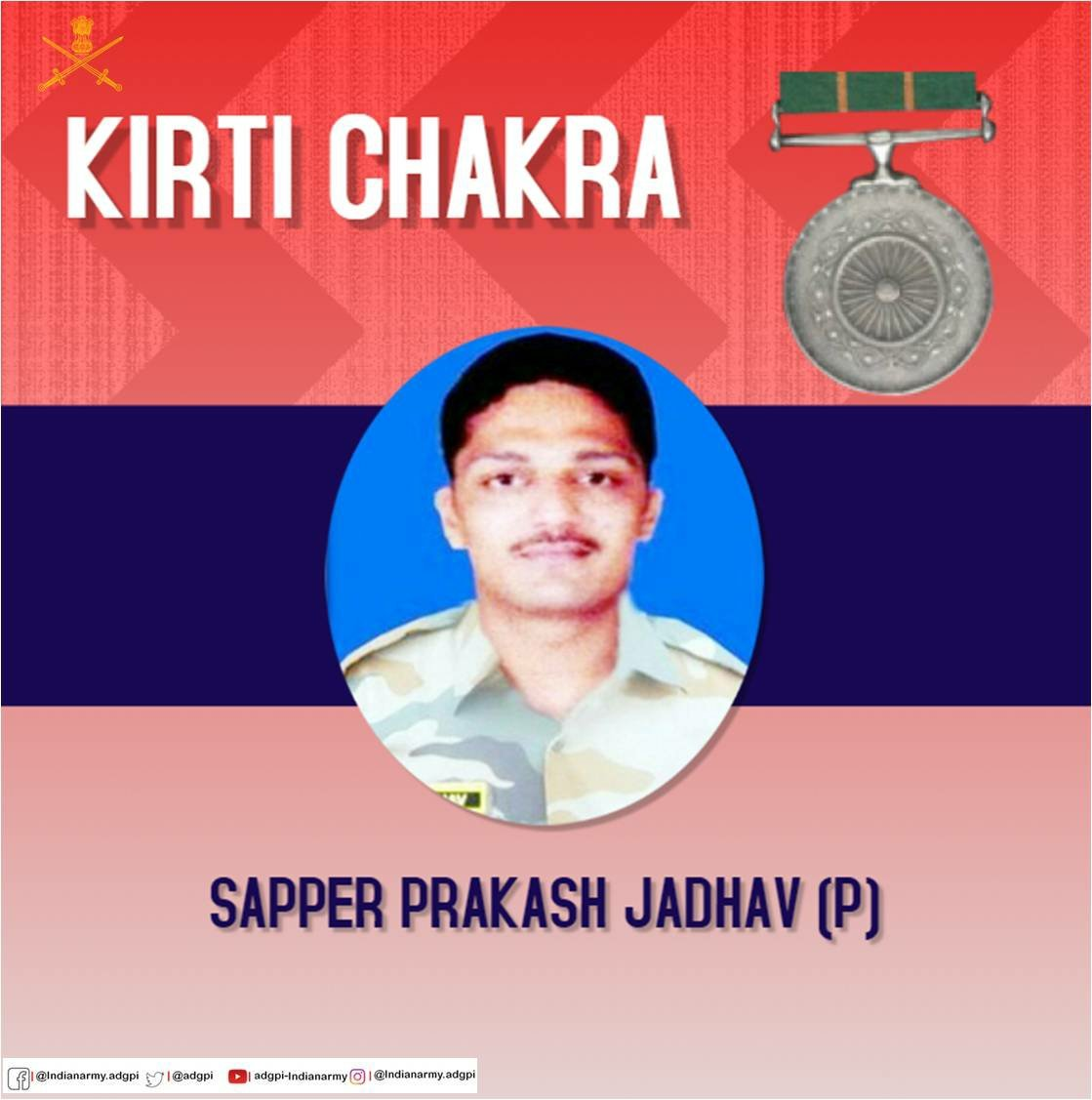 #KirtiChakra awarded to Sapper Prakash Jadhav (P) for conspicuous gallantry.  #BraveSonOfIndia  #IndependenceDay2019 https://t.co/zTRfooyiYK