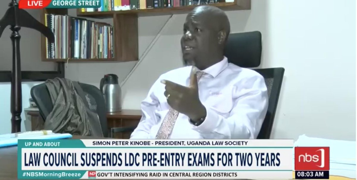 Simon Peter Kinobe, President Uganda Law Society weighs in on the law council suspending LDC pre-entry exams for two years: There are things we need to consider as a profession; was pre-entry serving its purpose?   #NBSMorningBreeze #NBSUpdates