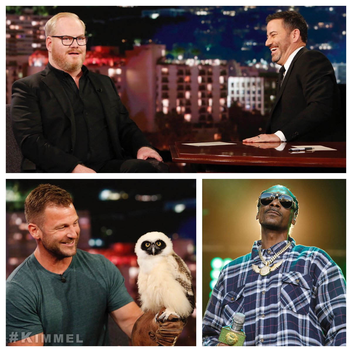 Tonight on #Kimmel @JimGaffigan #QualityTime, wild animals with @DaveSalmoni #AnimalPlanet & music from @SnoopDogg #IWannaThankMe <br>http://pic.twitter.com/dZrgyDK4T2