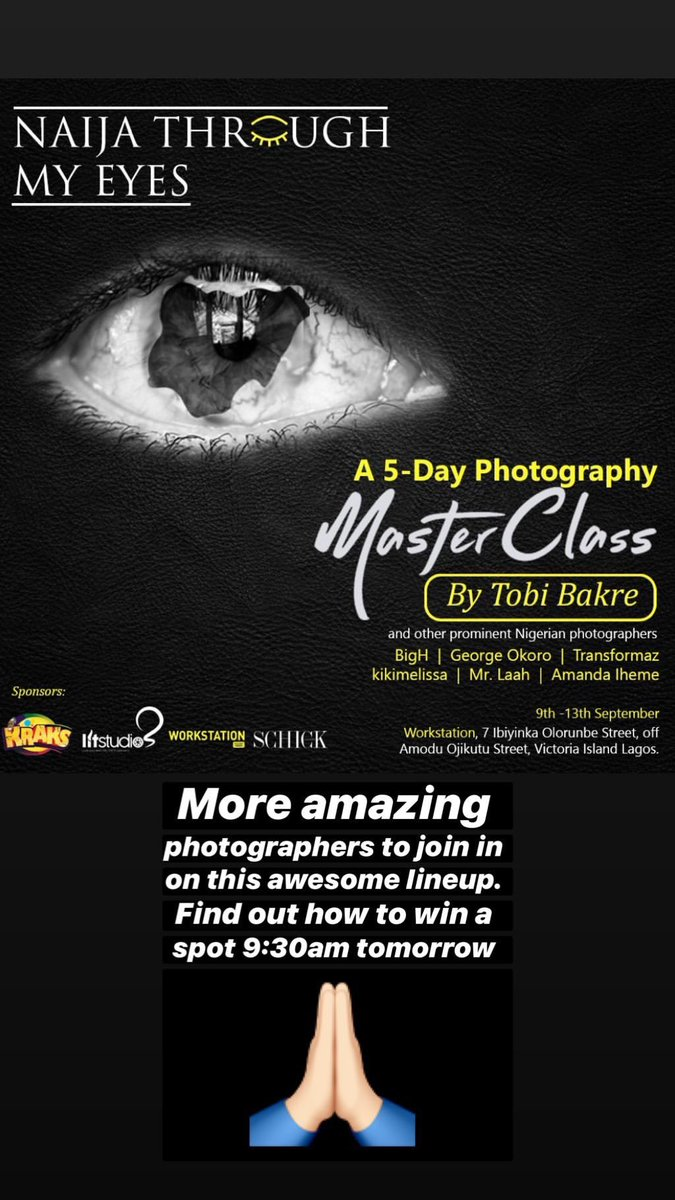 "Good morning beautiful people. How are y'all doing? The moment we have all been waiting for is almost here to find out how to win a spot on @tobibakre 's ""Naija through my eyes"" 5-day photography masterclass for aspiring photographers ONLY.   9:30am it is!   #TobiNation <br>http://pic.twitter.com/mGsCUN4QB1"