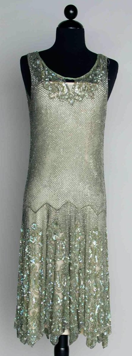 """""""Except for a streak of wind here & there..sea & sky looked all one fabric, as if sails were stuck high up in the sky, or the clouds had dropped down into the sea.""""  Virginia Woolf, To the Lighthouse  1920s seafoam dance dress, glittering with silver beads & irridescent sequins. <br>http://pic.twitter.com/nYU4dnrbcq"""