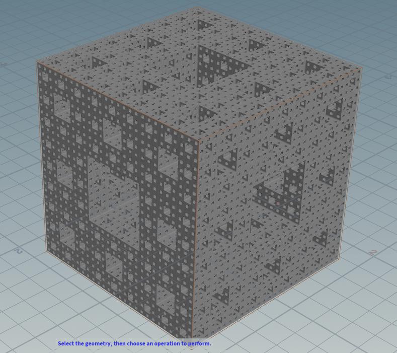 Houdini の Volume VOP に距離関数の処理を突っ込んでのメンガーのスポンジ。(参考 :  )やはり、ボリュームの解像度を細かめ(VoxelSize0.005)にしてもポリゴン化の際に角が丸くなるなぁ。