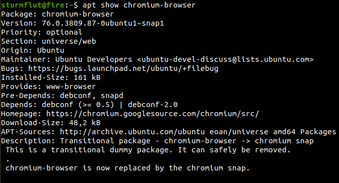 In #Ubuntu 19 10 the chromium-browser DEB package will