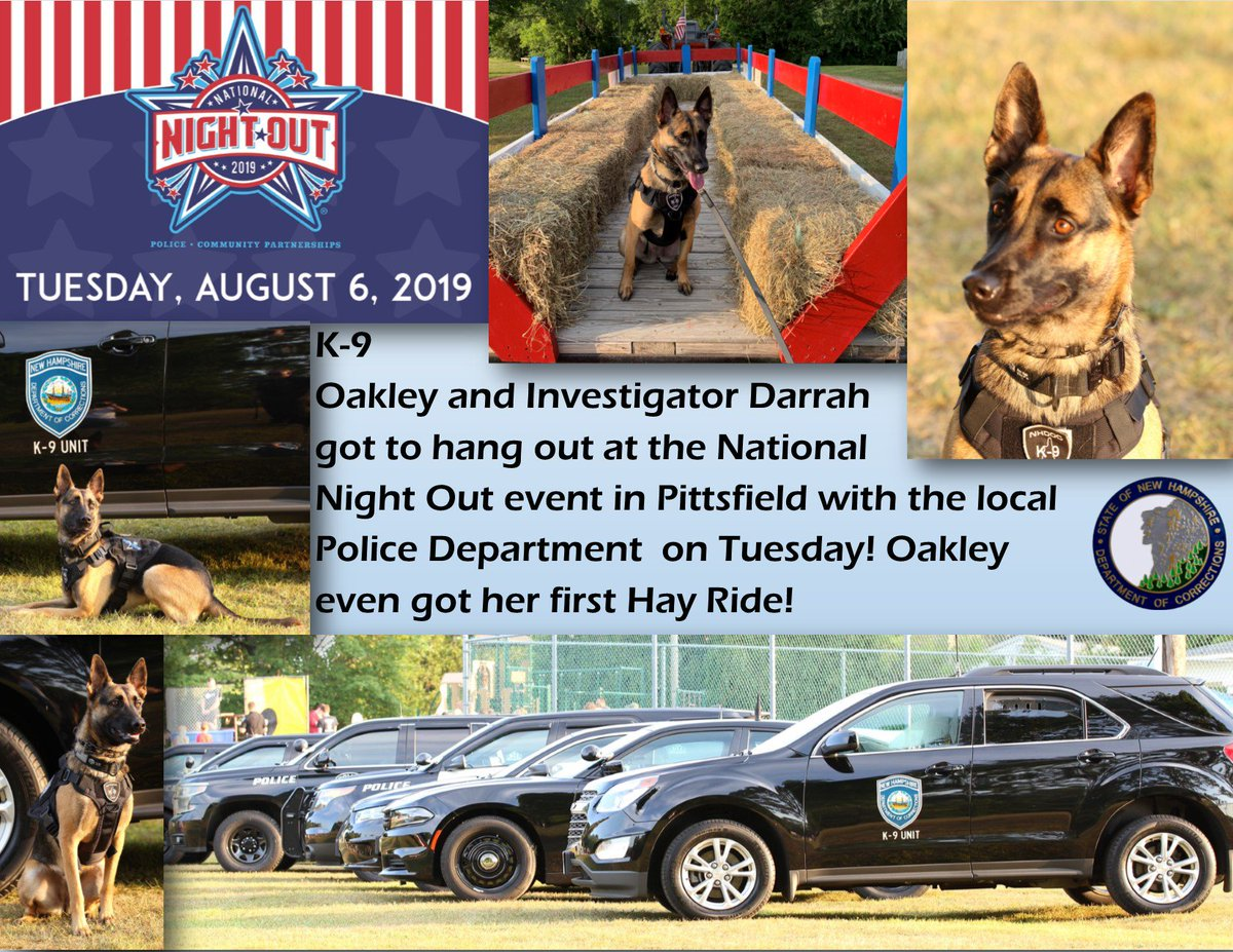 Oakley does National Night Out in Pittsfield! Thanks to their photographer for catching these great photos of her fun night!#K9Oakley #NHDOCProud #NationalNightOut2019 #FirstHayRide #PittsfieldPDpic.twitter.com/llYTN1alfd