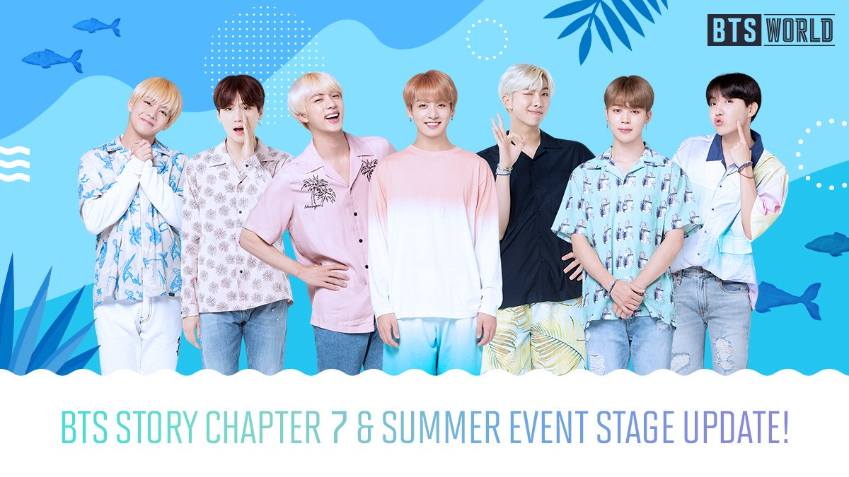 [Notice] 📍BTS STORY Chapter 7 Update! 📍Summer Event Stage Update! 📍New 5★ Boy of Summer Cards! I can hear the ocean in the distance!🌊 Manager! Its time to go to the beach with BTS! [Go to Notice] ▶forum.netmarble.com/btsworld/view/…