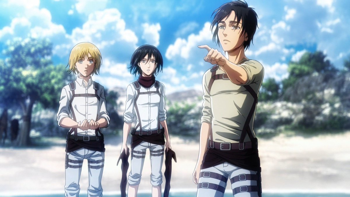 Attack On Titan Wiki On Twitter Eren Mikasa And Armin Iconic Ocean Scene In Promotional Key Visual Blu Ray Dvd Visual Manga Volume Cover And Anime Episode Https T Co I8rqjfnifu