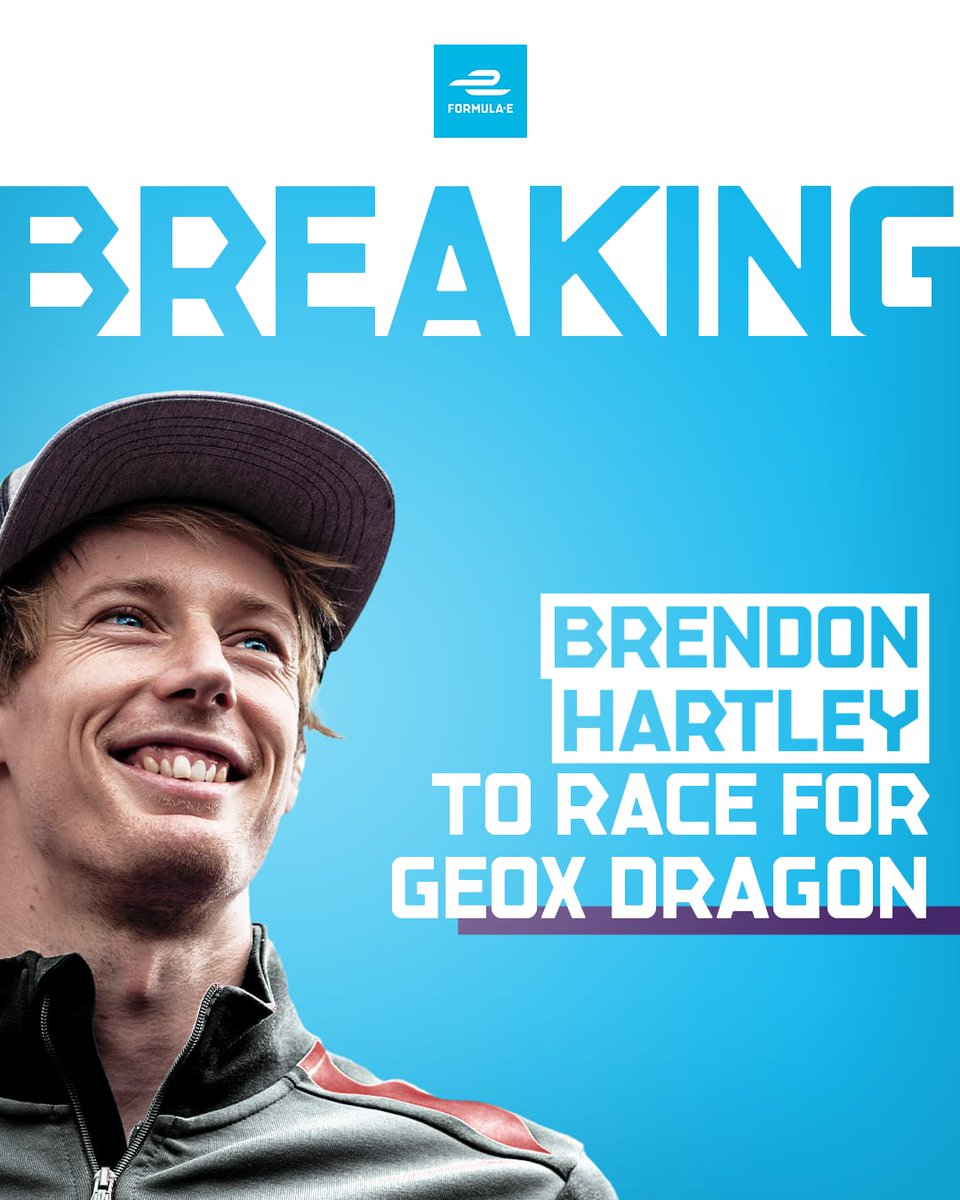 BREAKING! @BrendonHartley joins Formula E and will race for @GEOXDRAGON next season >> https://www.fiaformulae.com/en/news/2019/august/hartley-gets-dragon-drive … ⚡️ #ABBFormulaE