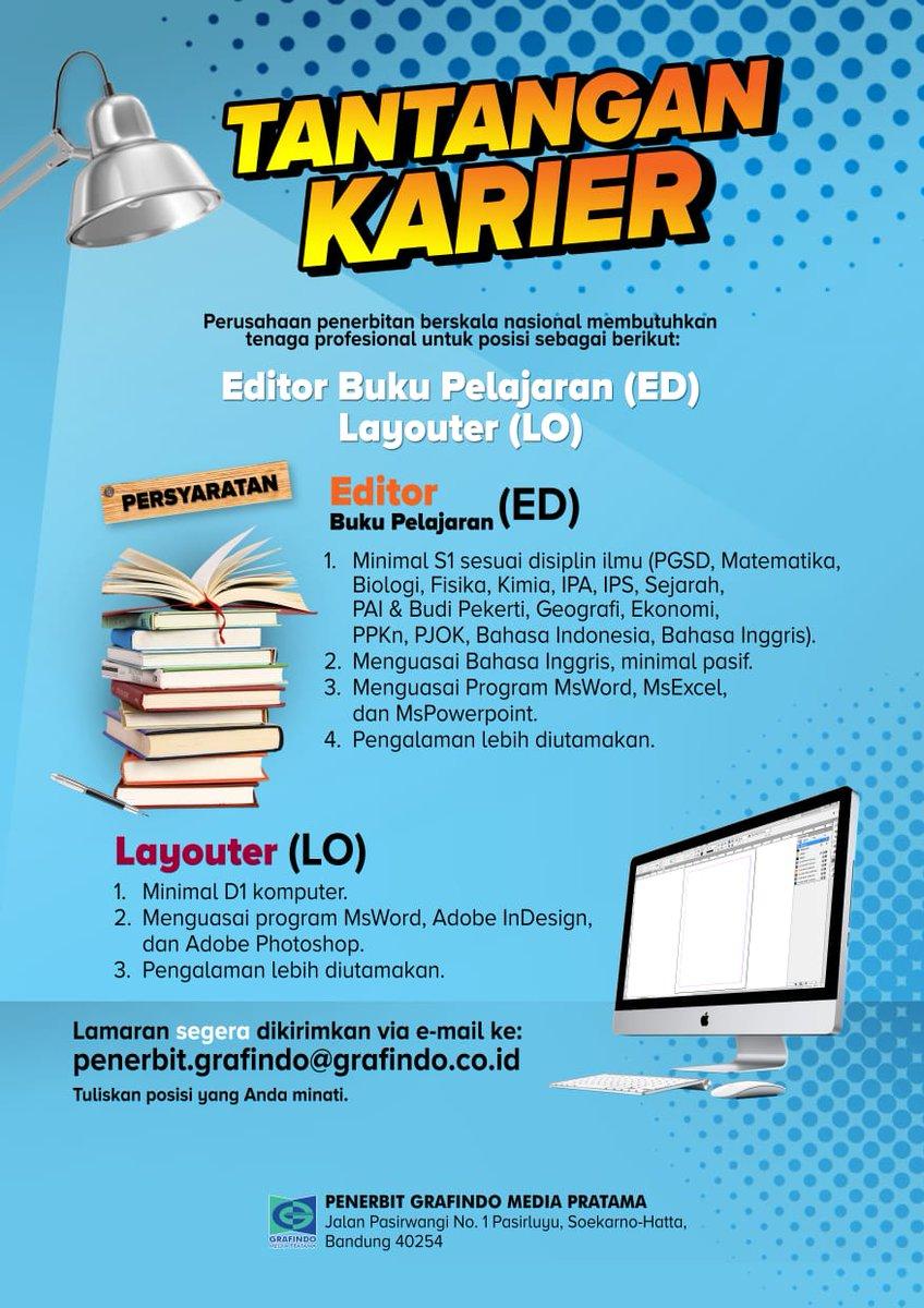 Penerbit Grafindo On Twitter Lowongan Kerja Grafindo Media