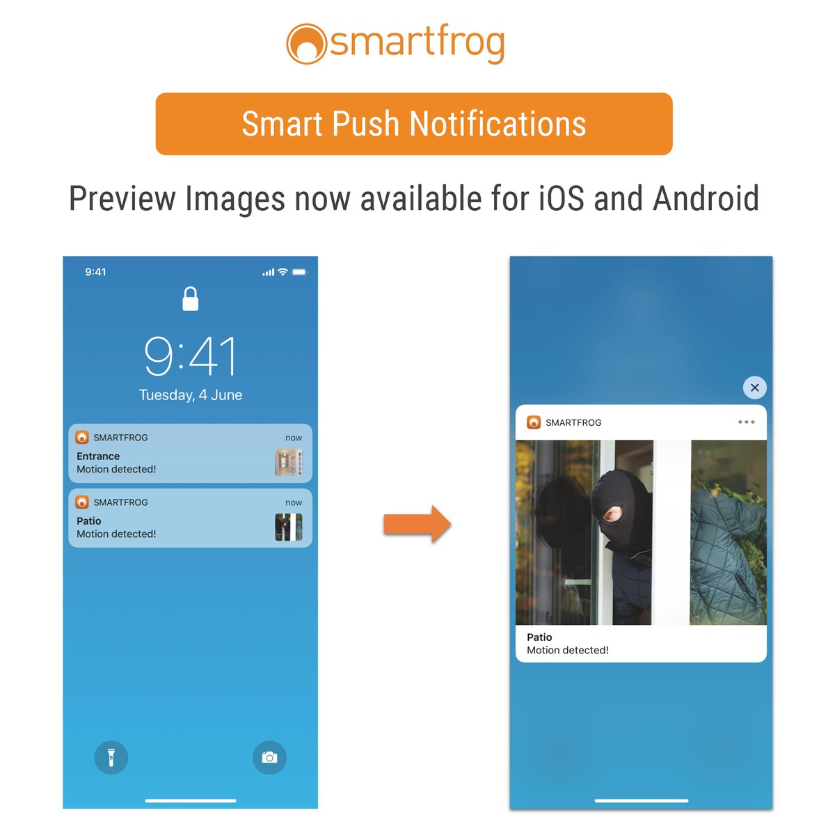 Time to update your Smartfrog App: now it is possible to see alarm push notifications which were triggered without opening the app. Whenever something moves or makes a noise, Smartfrog will notify you directly on your screen even when the app is not active. #smartfrog #update https://t.co/1jBS9otOzN