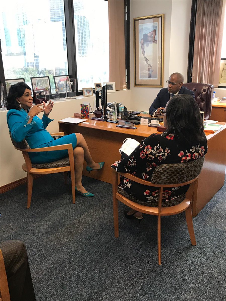 Dr. Steve Gallon III with Congresswoman Frederica S. Wilson to discuss ways to support Black young boys and male youth. Founded by Congresswoman Wilson over 25 years ago, the 5000 Role Models of Excellence Project has provided mentoring and scholarships.