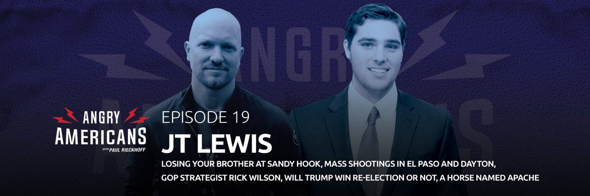 ⚡️NEW POD!⚡️Episode019 is our most moving @angryamericans podcast yet. Listen free: https://t.co/gV7bz4GIQU. Brave 19-year-old @thejtlewis lost his little brother at Sandy Hook. Now, he's fighting to stop mass shootings. And GOP Strategist @TheRickWilson breaks down 2020. 🎙🇺🇸⚡️ https://t.co/9Z94HU5Nup