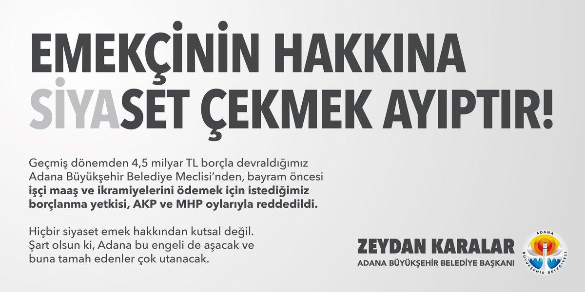 Geçmiş dönemden 4,5 milyar TL borçla devraldığımız Adana Büyükşehir Belediye Meclisi'nden, bayram öncesi işçi maaş ve ikramiyelerini ödemek için istediğimiz borçlanma yetkisi, AKP ve MHP oylarıyla reddedildi.  #AdanalıyaSiyasetÇekme