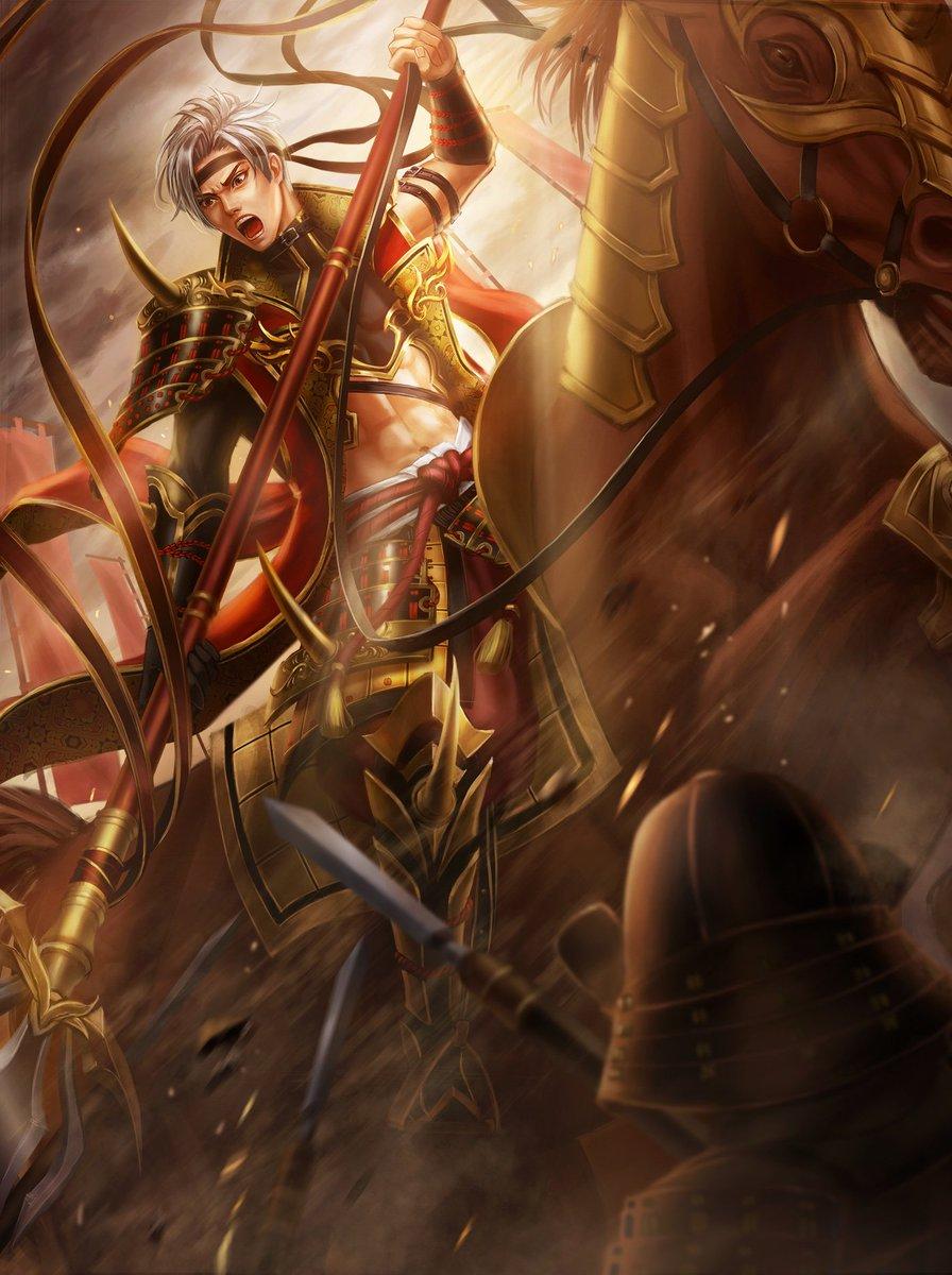 【戸川達安】 宇喜多氏の家臣 常に宇喜多軍の主力として出陣し、数々の戦功を立てた猛将。 特に板白坂の戦いで島津軍と対戦し、大勢の敵兵を打ち取った。  期間延長していただきありがとうございました!  #戦国TCGイラコン