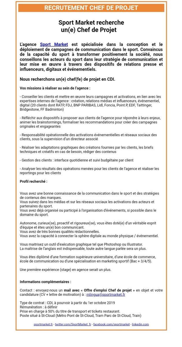 Le Sport Business On Twitter L Agence Sportmarket Fr Recrute Un