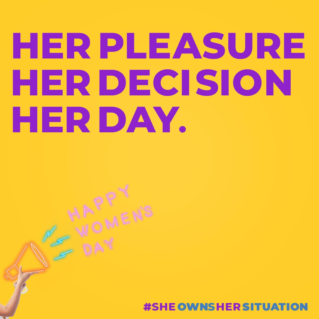 Ladies, today you take the reins. Happy Women's Day. #OwnYourSituation