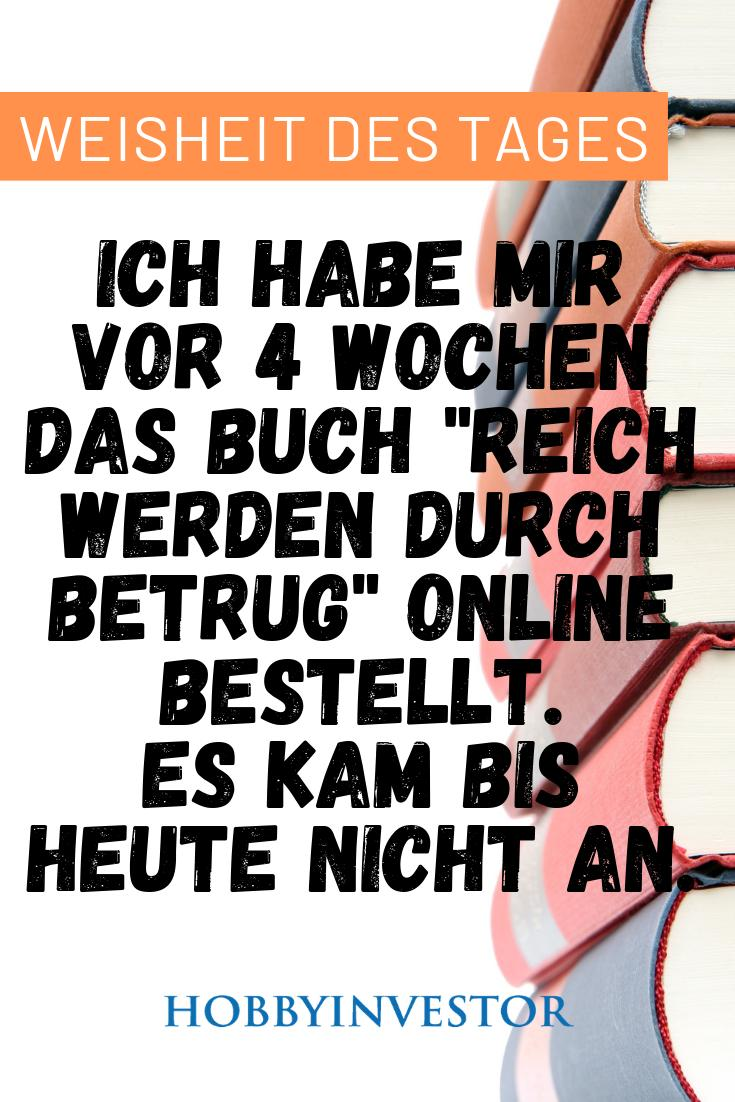 """Ich habe mir vor 4 Wochen das Buch """"Reich werden durch Betrug"""" online bestellt. Es kam bis heute nicht an! #witzig #lustig #che #funny #lachen  #like #fun #lustigebilder #witz #haha #humor  #witze  #lustigespr #witzigebilder #spr  #lachflash #lustiges  #comedy #schwarzerhumorpic.twitter.com/NG2XW1AOSE"""