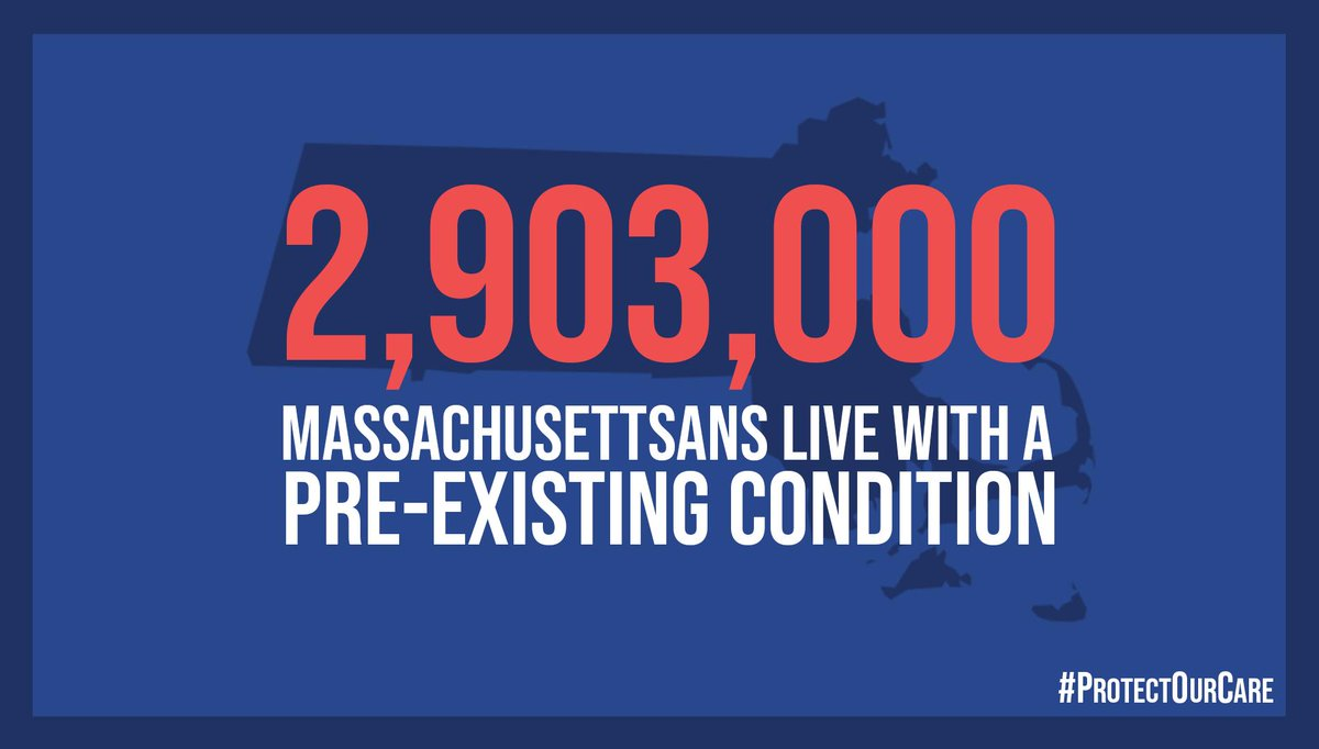 Millions of Americans live with a pre-existing condition – including almost 3 million right here in MA. Thanks to ACA, they're protected from discrimination – but that will go away if Republicans win their anti-health care lawsuit. #ProtectOurCare