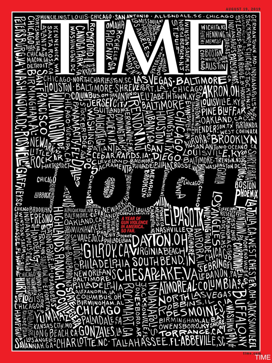 "TIME Magazine makes a statement on this week's cover in the wake of two deadly mass shootings over the weekend that left at least 31 people dead.  ""ENOUGH."" https://abcn.ws/2KBFgMd"
