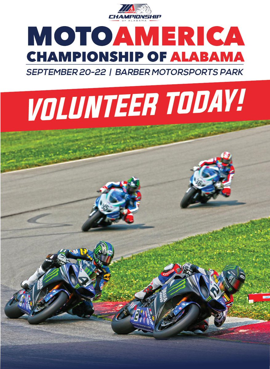 Be apart of the action and sign up to volunteer for the 2019 MotoAmerica Championship of Alabama! Secure your spot by registering today ⇢ barberracingevents.com/motoamerica-ch… @MotoAmerica1