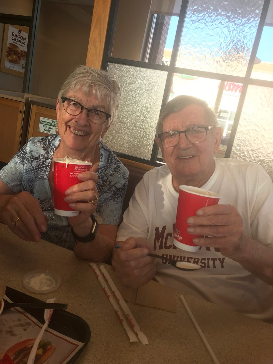 Hey @Wendys thanks for the complimentary frosties #60thweddinganniversary #chiliandfries 🥂💕💍