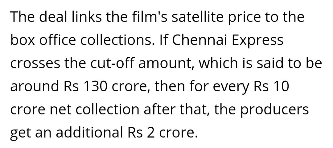 Chennai Express will be remembered for the Satellite deal that @iamsrk cracked. it was pathbreaking in many ways.  40cr was the outright deal (highest of that time) + 2cr additional for every 10cr the film crosses after 130cr.  The deal went up to 56-60cr  #6YearsOfChennaiExpress<br>http://pic.twitter.com/IBEkenQJvQ
