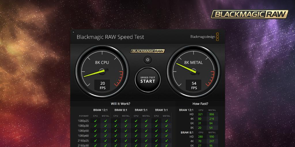 Blackmagic Design On Twitter New Blackmagic Raw Speed Test Now You Can Test Your System S Cpu And Gpu Performance For Working With Full Resolution Blackmagic Raw Video Download Now From Https T Co L43bw3vmso Https T Co Mkdbwavc8u