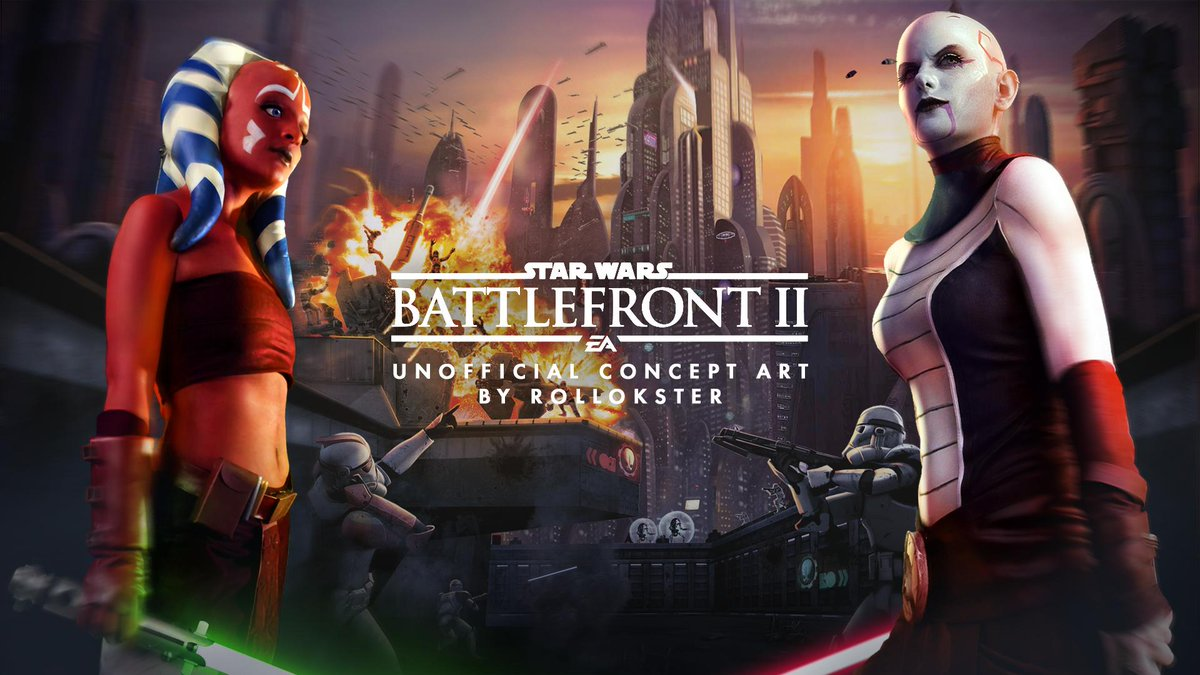 Unfortunately, I didn't tweet anything for quite a long time, so here the full clickbaitish fan concept art with Ahsoka and Ventress I made before EAPlay. I actually used photos of two beautiful cosplay models and SWBF:ES key art as well as some of the shots from the movies. <br>http://pic.twitter.com/rmJfWMrGPU