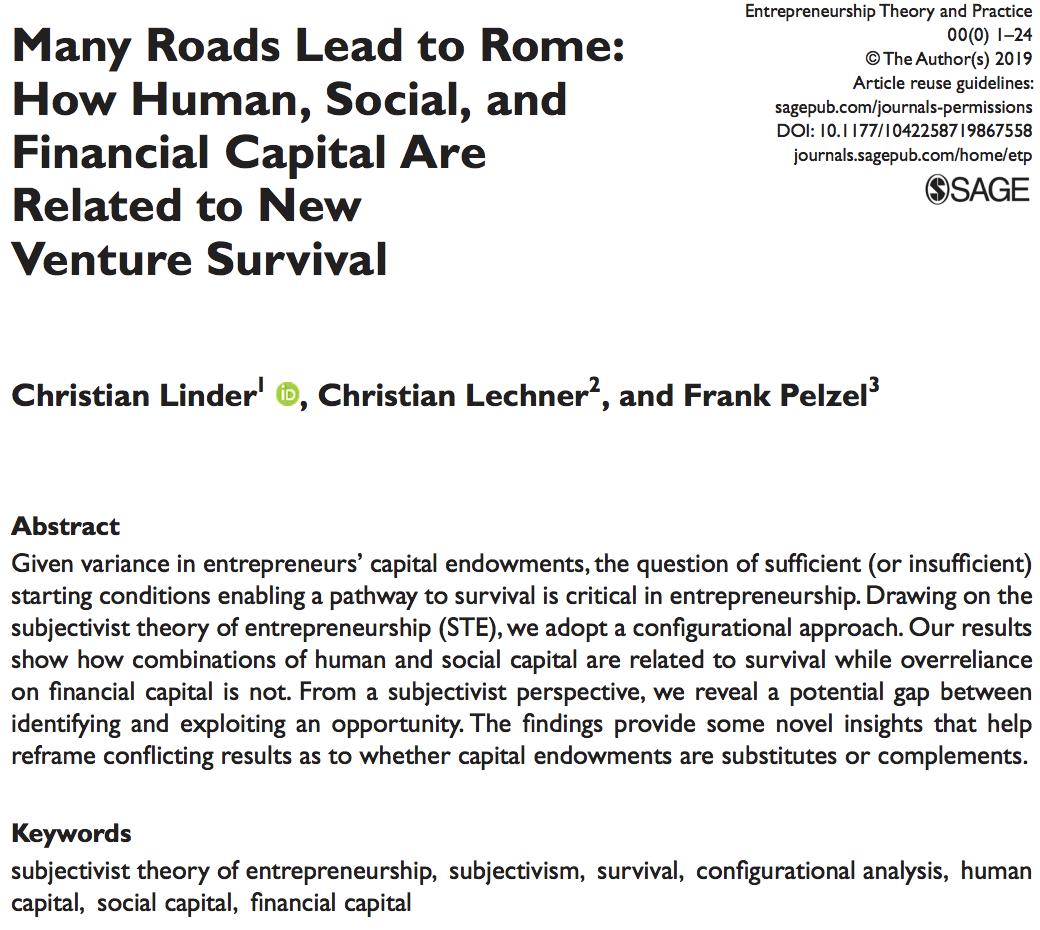 Among financial, human, and, social capital, what different resource combinations ensure new venture survival? Linder @ESCPeurope, Lechner @unibz_news, and Pelzel explore this question in their recent @ETPjournal article. doi.org/10.1177/104225…