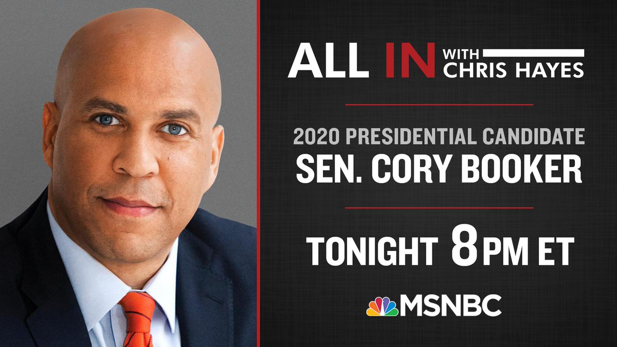 TONIGHT: Tune in as @CoryBooker joins @chrislhayes at 8pm ET on @allinwithchris. #inners