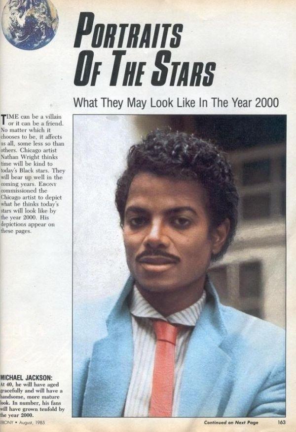 """E essa revista dos anos 80 que fez esta arte para mostrar """"como Michael Jackson iria ficar nos anos 2000""""?"""