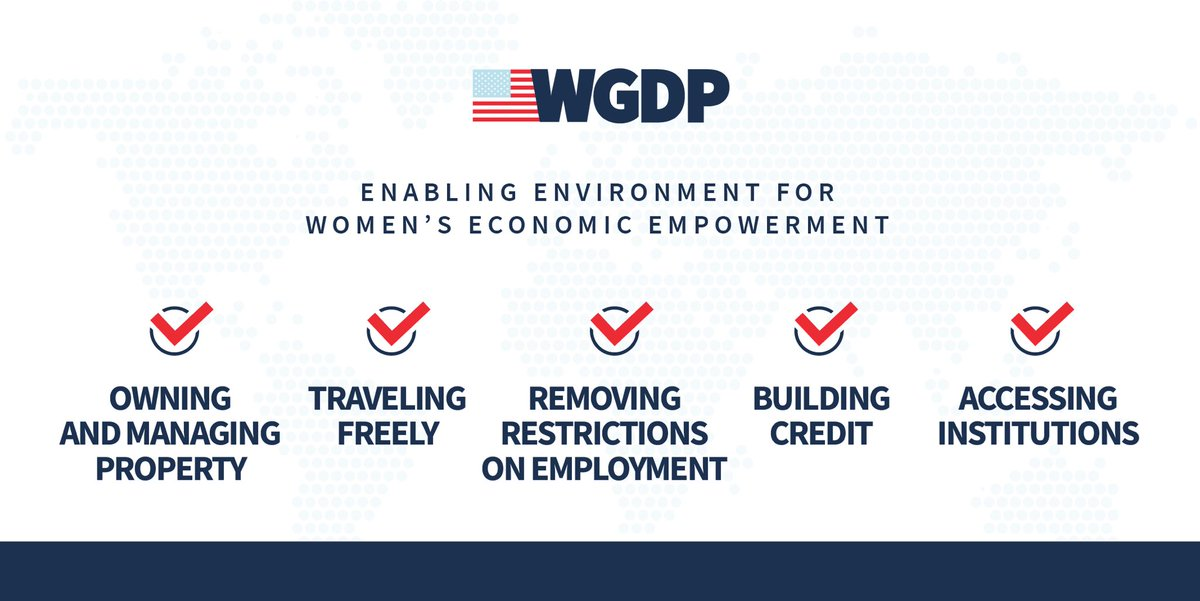 Countries legal & regulatory frameworks must recognize the vital role women play in advancing economic prosperity for their families, communities, & countries. #WGDP's 3rd Pillar, Women Enabled in the Economy, is laser focused on furthering these 5 foundational reforms worldwide. https://t.co/wjzuri7VYc