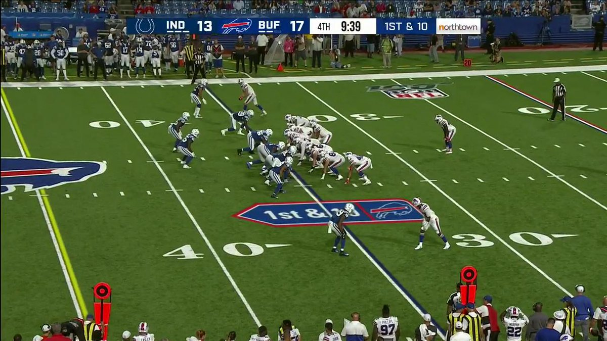 Look at the Bills sideline, they are going crazy for their friend from England! #GoBills | #INDvsBUF