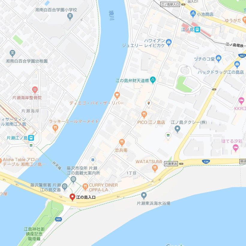 googleMap 江ノ島駅~江の島入口交差点