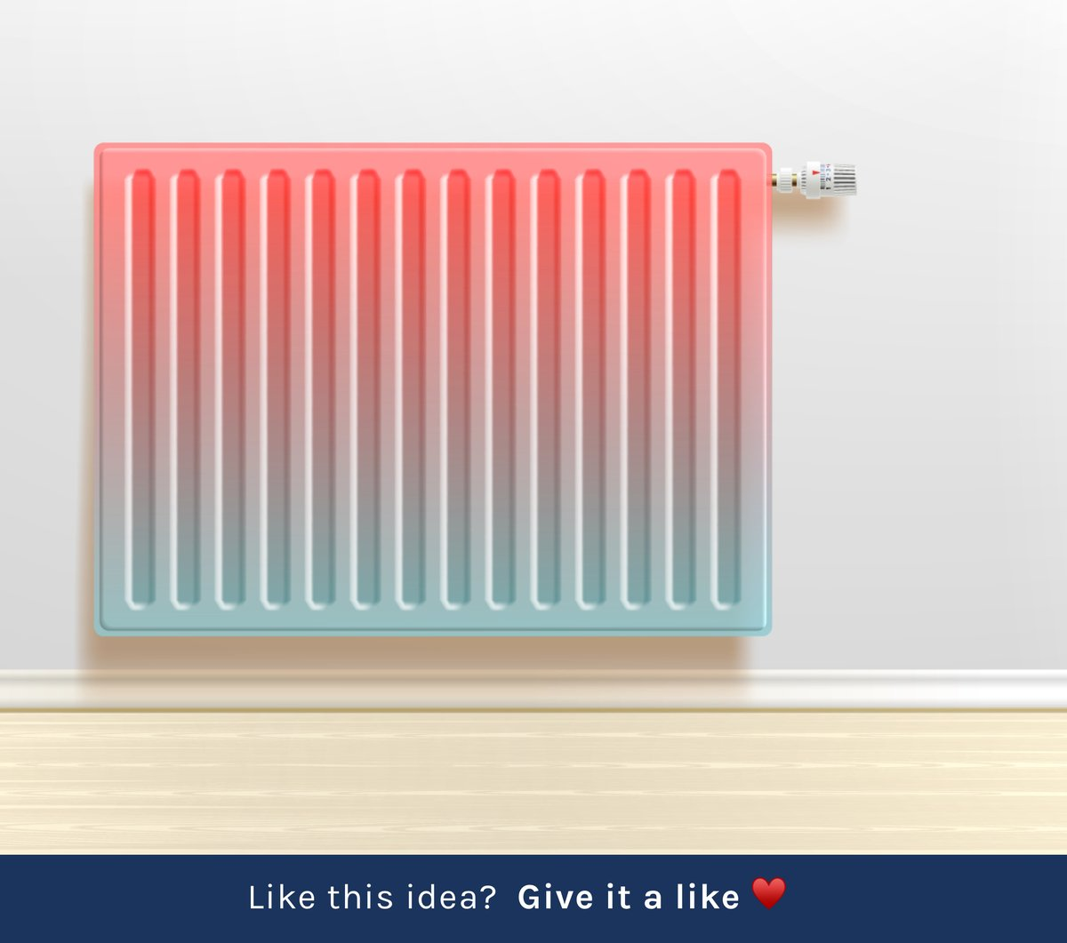 Radiators that change color with heat. Easily find the radiators that need to be bled.