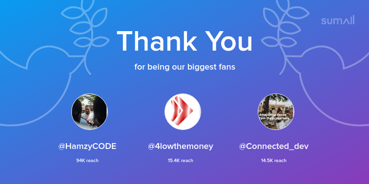 Our biggest fans this week: HamzyCODE, 4lowthemoney, Connected_dev. Thank you! via sumall.com/thankyou?utm_s…