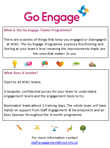 Busy finalising teams for Cohort10 of @GoEngageUK @WWLNHS Exciting times with updated resources, ideas and a good mix of teams from Wrightington, Wigan, Leigh & Community. There is still time to for your team to join so get in touch today. #Engagement #ValuedStaff #Wellbeing
