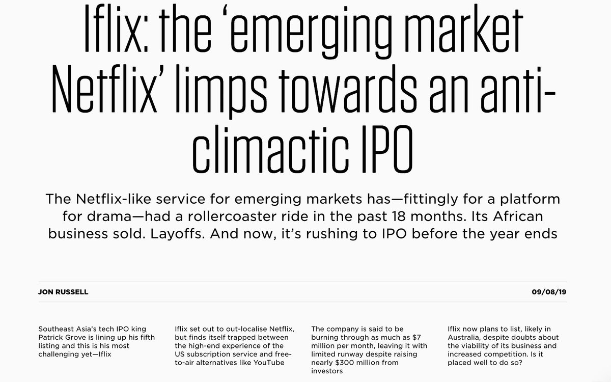 Iflix announced a $50M pre-IPO round last month -- but there's so much going on including a pivot to ads, layoffs,  sale of units outside SE Asia, high burn rate/decreasing runway, increased competition and moreToo much more to cover in a tweet 🤯https://the-ken.com/story/iflix-southeast-asia-ipo/ …