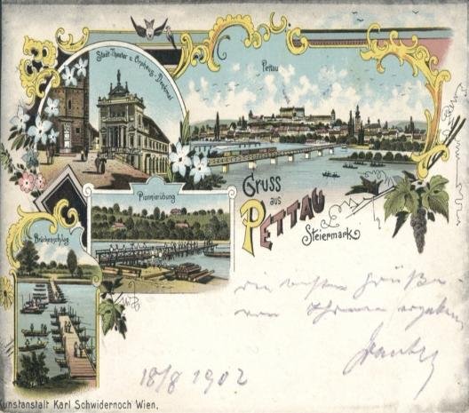 Čudovita razglednica s Ptuja z začetka 20. stoletja, današnji #nasvetzaizlet. Vabljeni tudi k obisku Digitalne knjižnice Slovenije, kjer jih najdete še več: …  knjiznicaNUK NUK