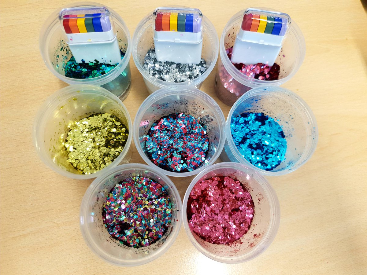 Glitter and face paints all ready for @WiganPrideLGBT 🌈. Pop down to the @WWLNHS Health Outreach stand and get glittered up for a donation to charity.Thanks to @muobucosmetics for the brilliant selection of glitter and the huge discount 👍🌈🌈 @andrewkfoster @wwl_staffeng #NHS
