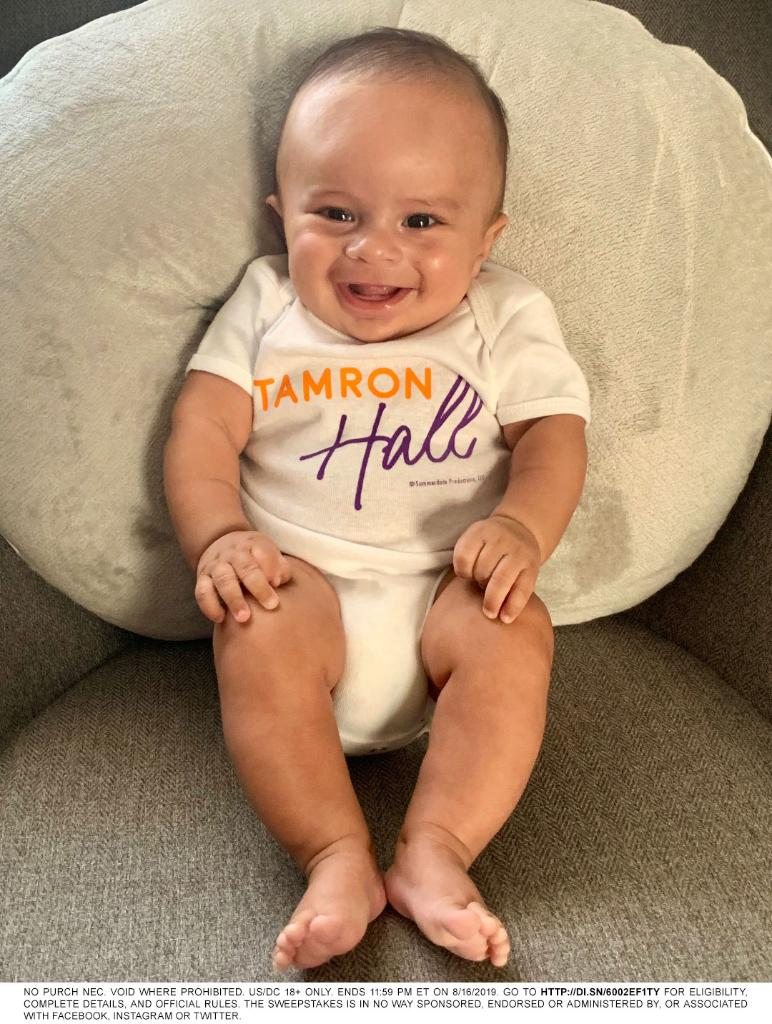"@tamronhalls sonshine Moses is counting down to the premiere of ""Tamron Hall"" in 1 month on 9.9.19! Comment with #TamronCountdownSweepstakes to be entered for a chance to win a show onesie! Rules: di.sn/6002EF1TY"